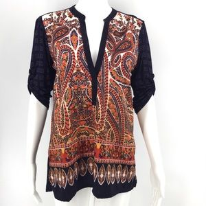 ANTHRO TINY Blouse S Persian Pear Tunic Top Navy